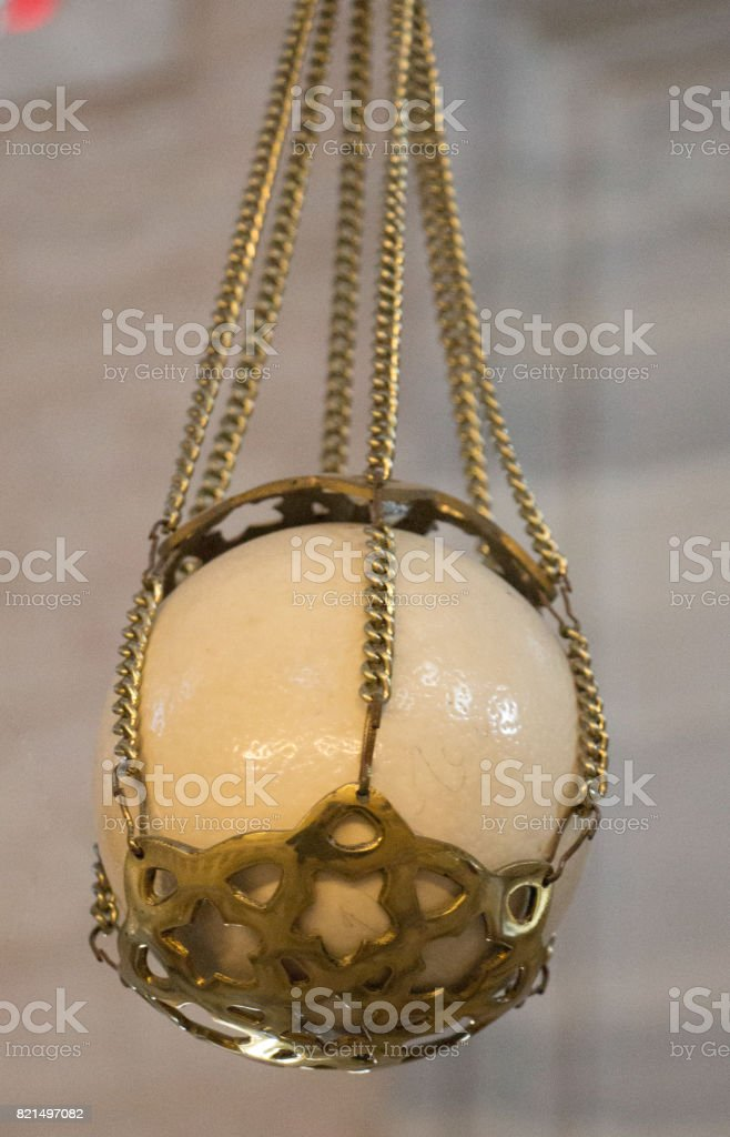 Ostrich egg found in Ottoman made mosques stock photo