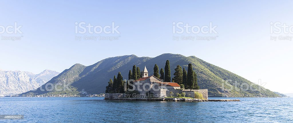 Ostrvo Sveti Dorde ( Island of Saint George) in Montenegro stock photo