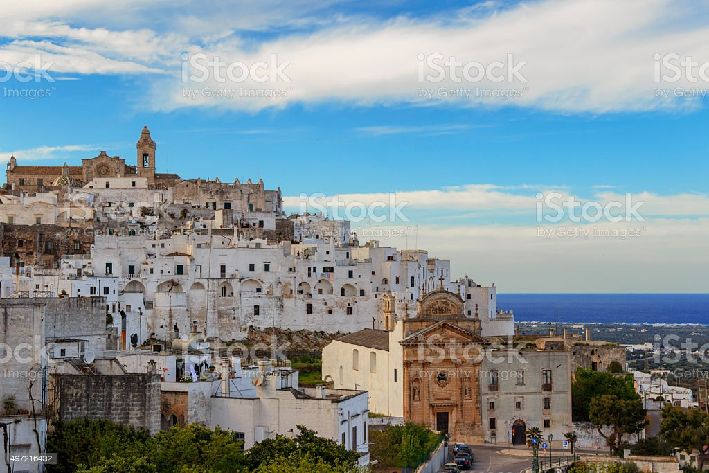 Ostuni,the withe city.Panoramic view:on background the Romanesque-Gothic Cathedral.-ITALY(Apulia)- stock photo