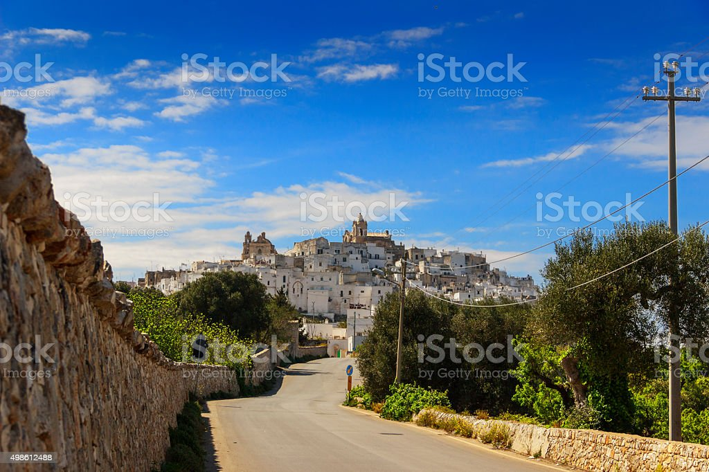 Ostuni,the withe city.Panoramic view:on background the Romanesque-Gothic Cathedral.-ITALY(Brindisi)- stock photo