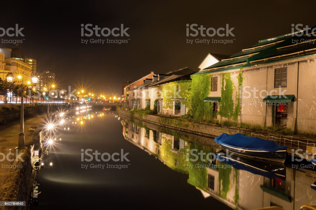 Otaru canal and boat at night stock photo