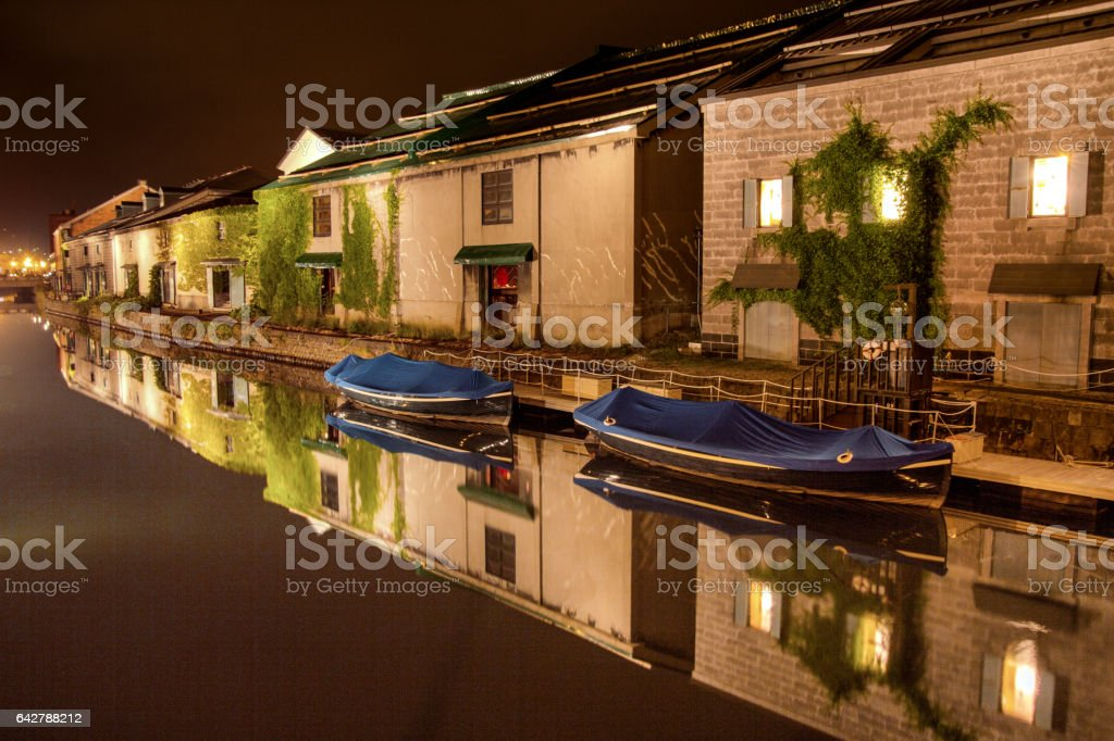 Otaru canal and warehouses stock photo