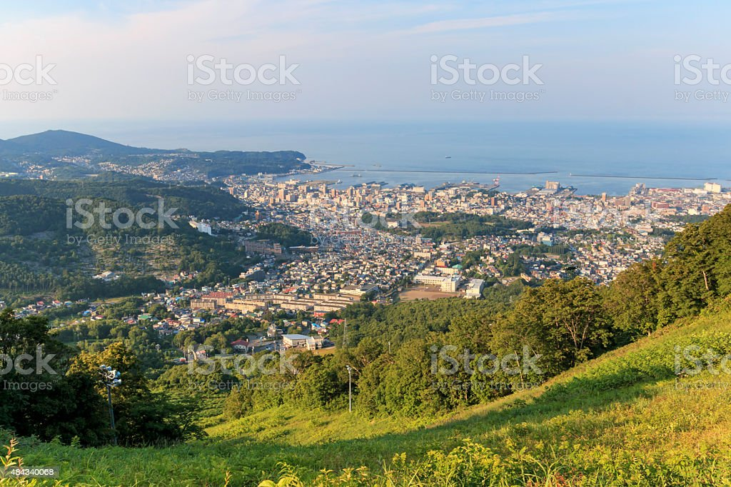 Otaru cityscape viewed from the mountains stock photo