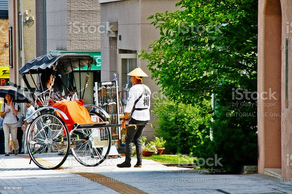 Otaru, Hokkaido, Japan - September 5, 2009 - Jinrikisha or rickshaw stock photo