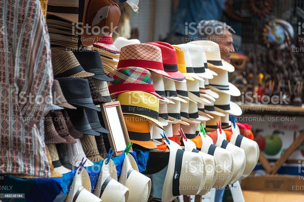 Otavalo Market Panama Hats stock photo