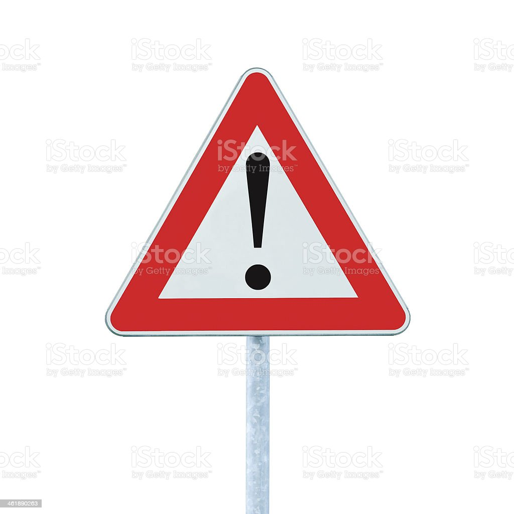 Other Danger Ahead Warning Road Sign With Pole Post, isolated stock photo