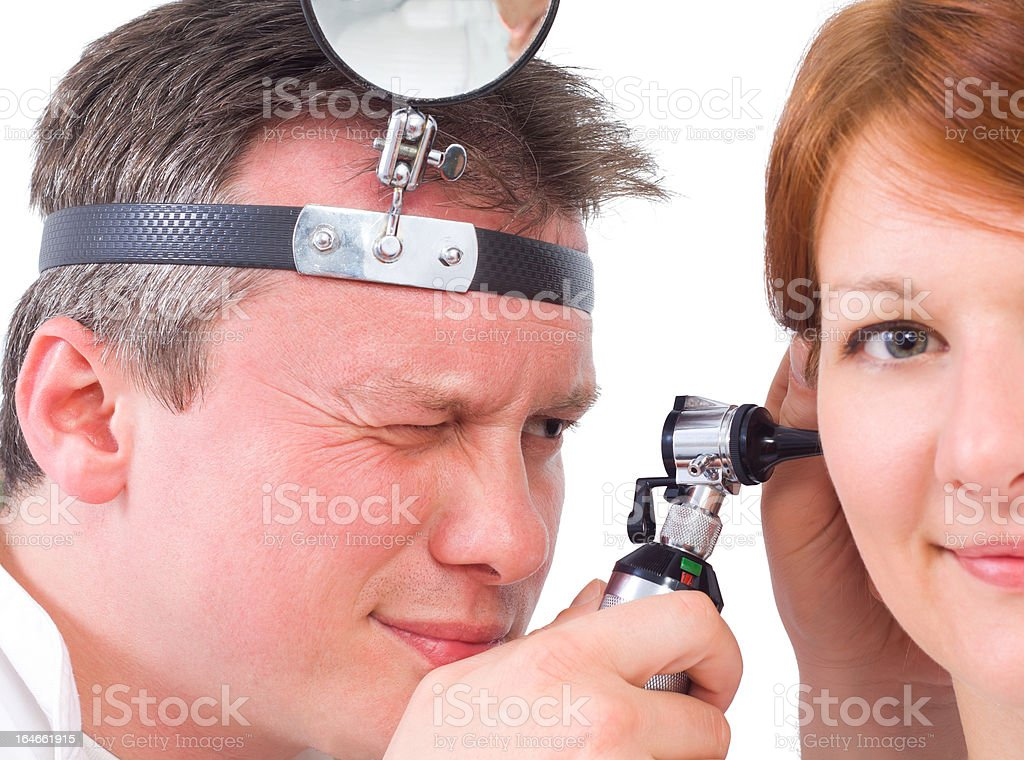 otolaryngologycal exam stock photo