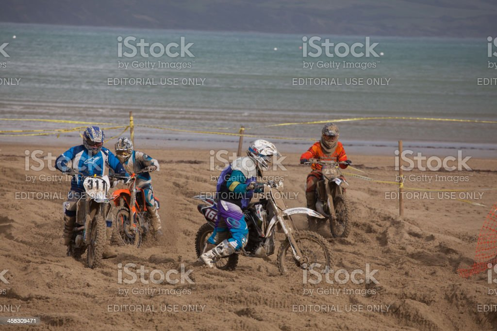 Otorcycle Motocross Dirt Bike Race On The Beach Stock Photo