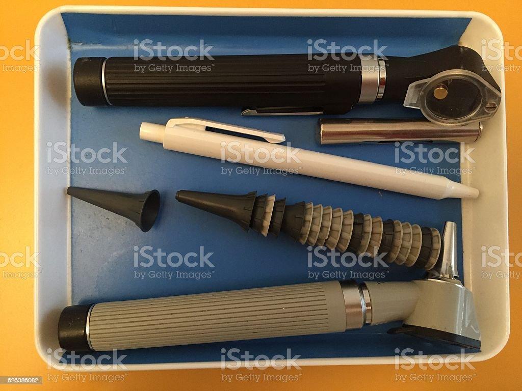 Otoscope, ear examination tool stock photo