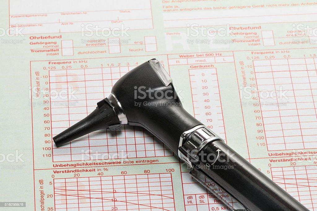 Otoscope for ear examination stock photo
