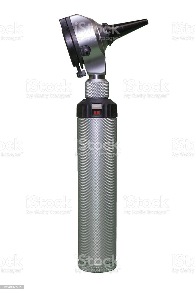 Otoscope on white background. stock photo