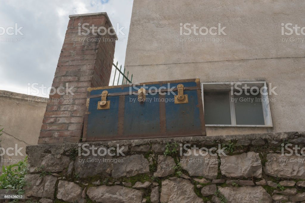Ottati small village of Cilento. View od the roof and the valley. Southern Italy stock photo