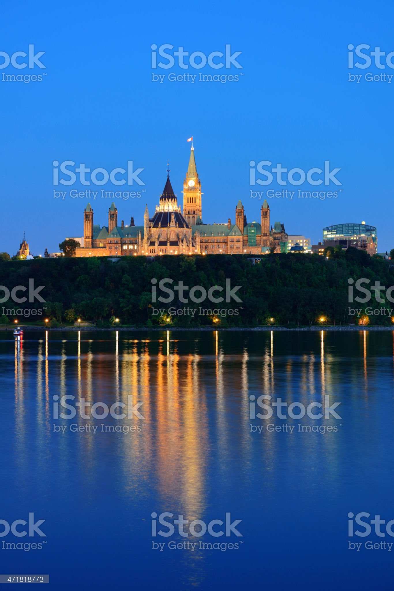 Ottawa at night royalty-free stock photo