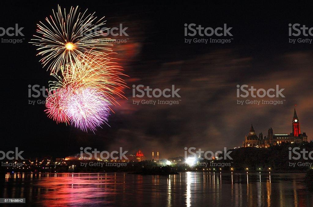 Ottawa Canada: Canada Day Fireworks stock photo