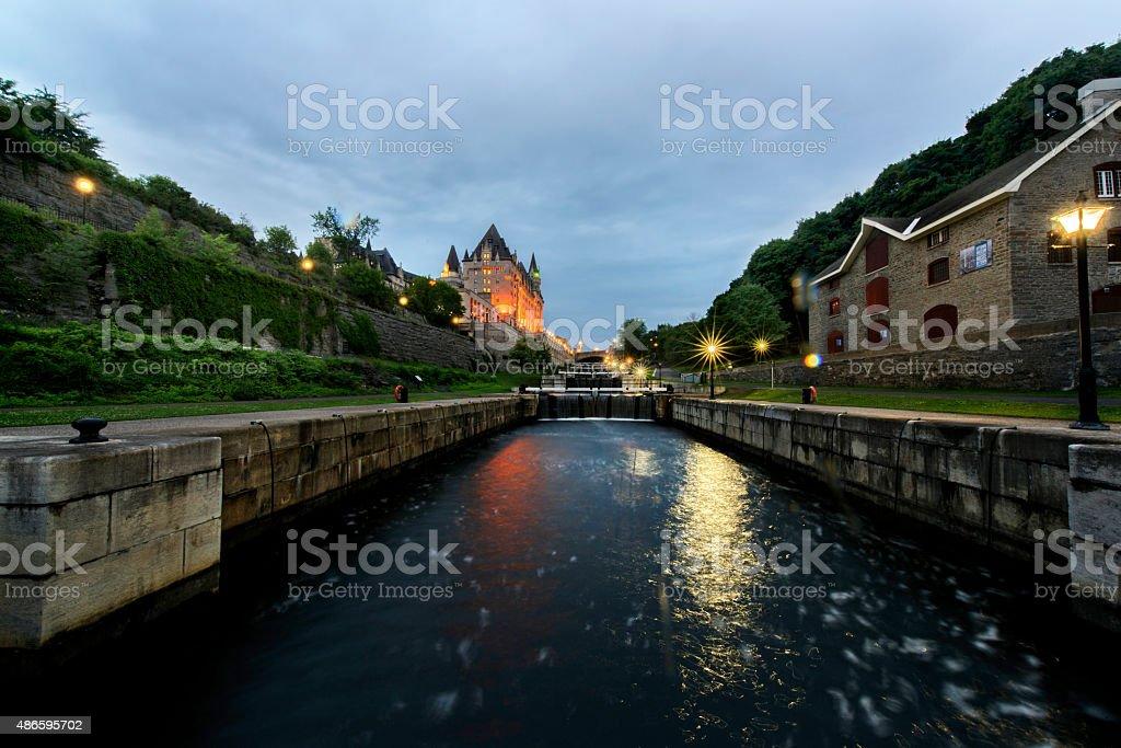 Ottawa Canal in the dusk stock photo