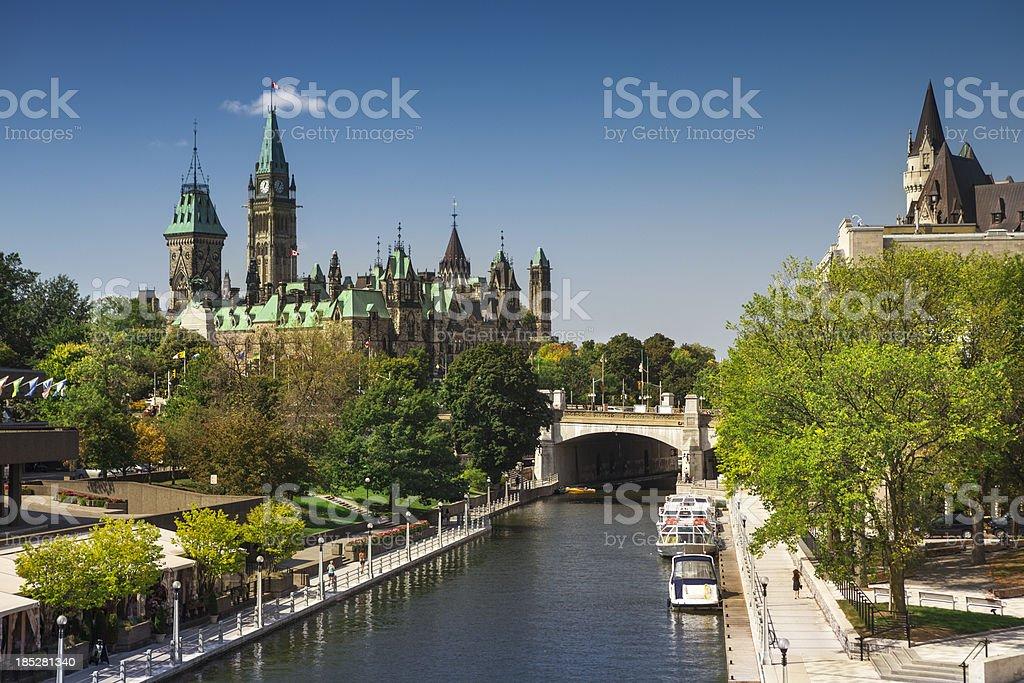 Ottawa city street and Rideau Canal stock photo