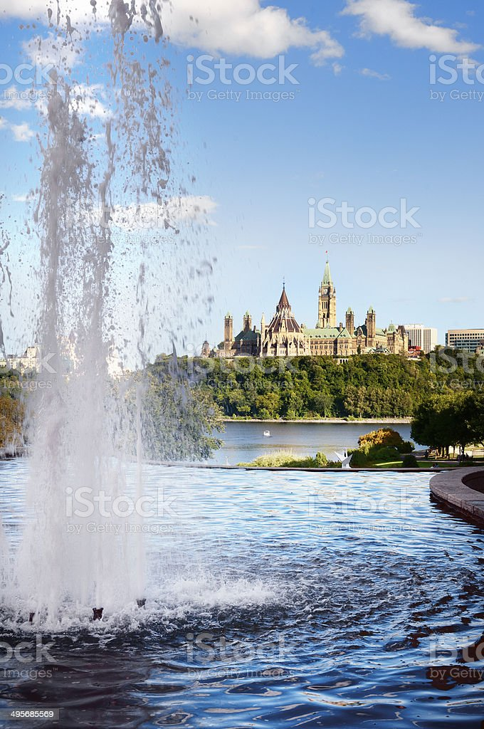 Ottawa cityscape in the day over river with historical architect royalty-free stock photo