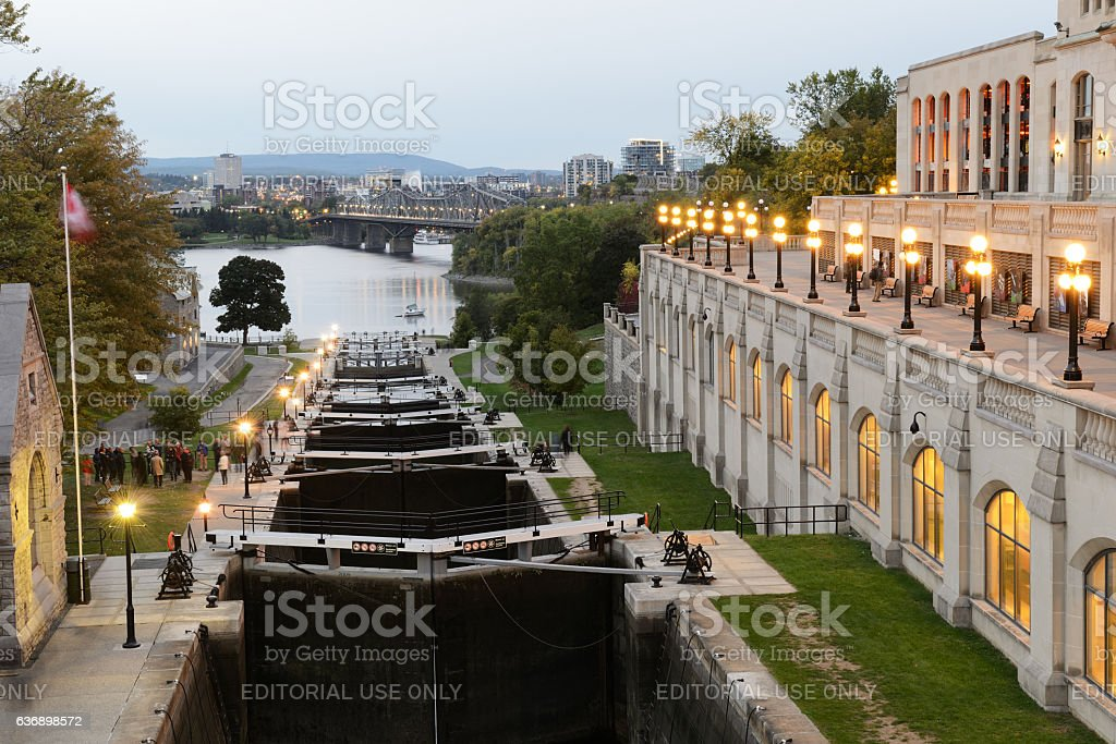 Ottawa Locks with Chateau Laurier hotel stock photo