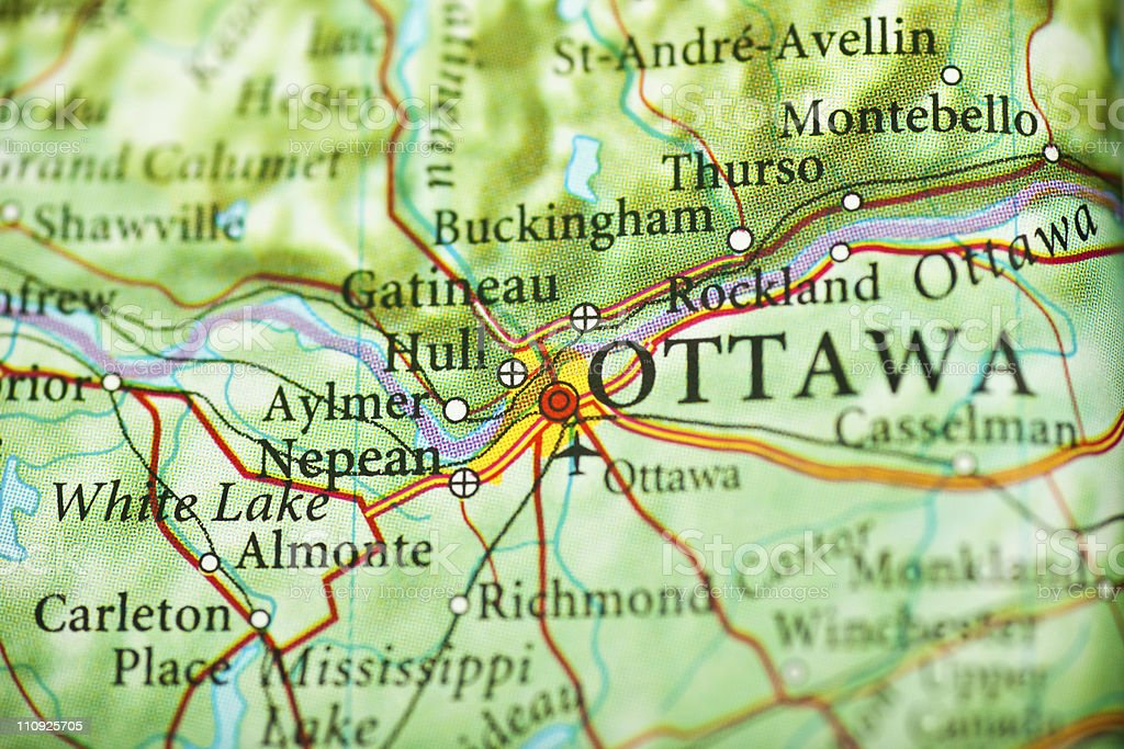 Ottawa map, Canada royalty-free stock photo