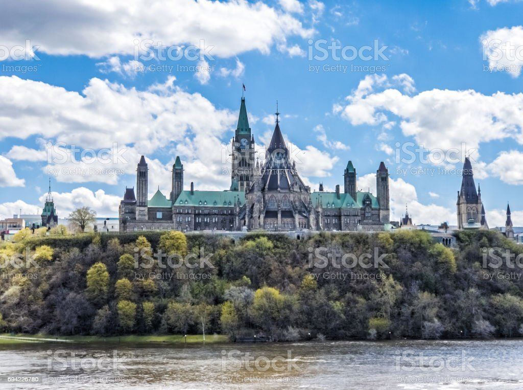 Ottawa Parliament buildings as seen from Gatineau stock photo