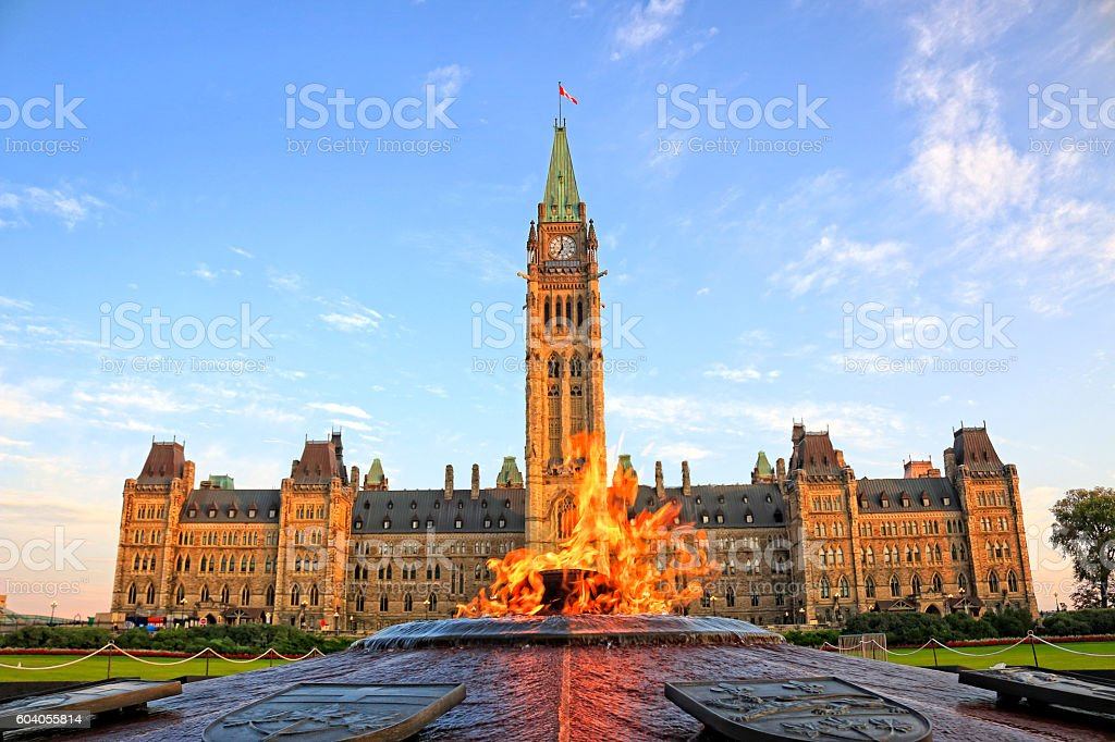 Ottawa Parliament Hill with Centennial Flame stock photo