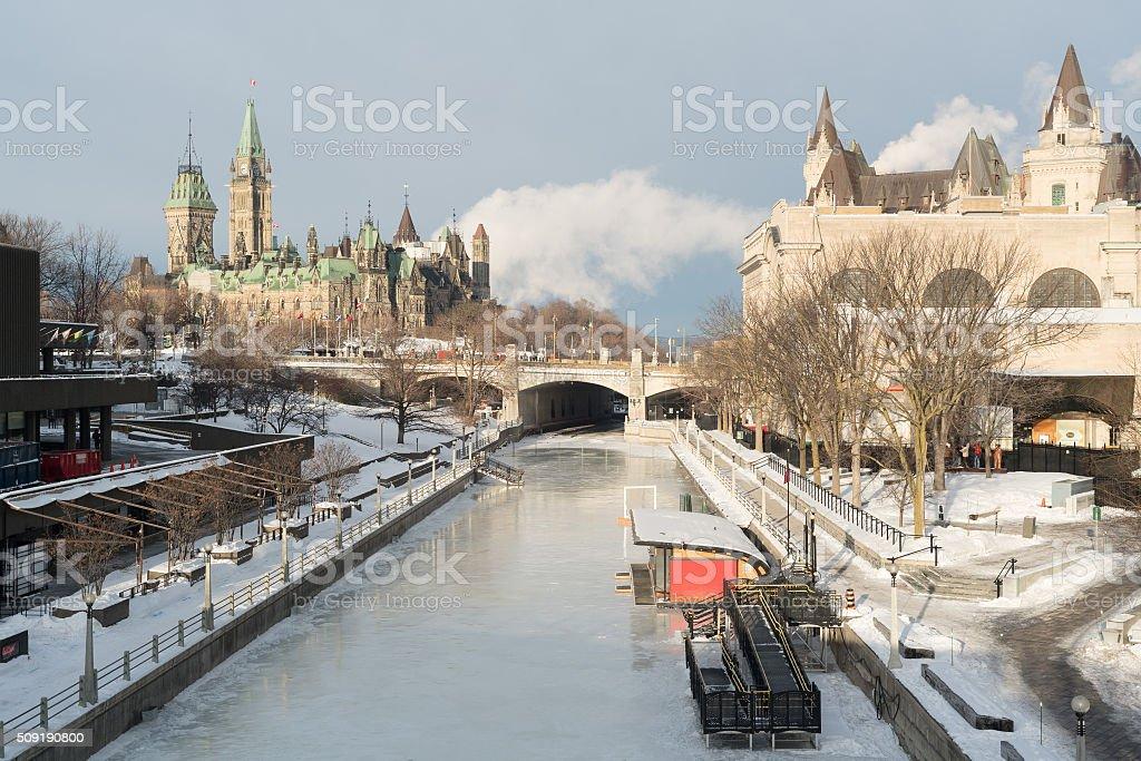 Ottawa Ridean Canal in Winter stock photo