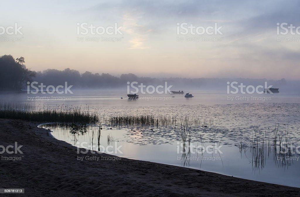Ottawa River and boats, mist stock photo