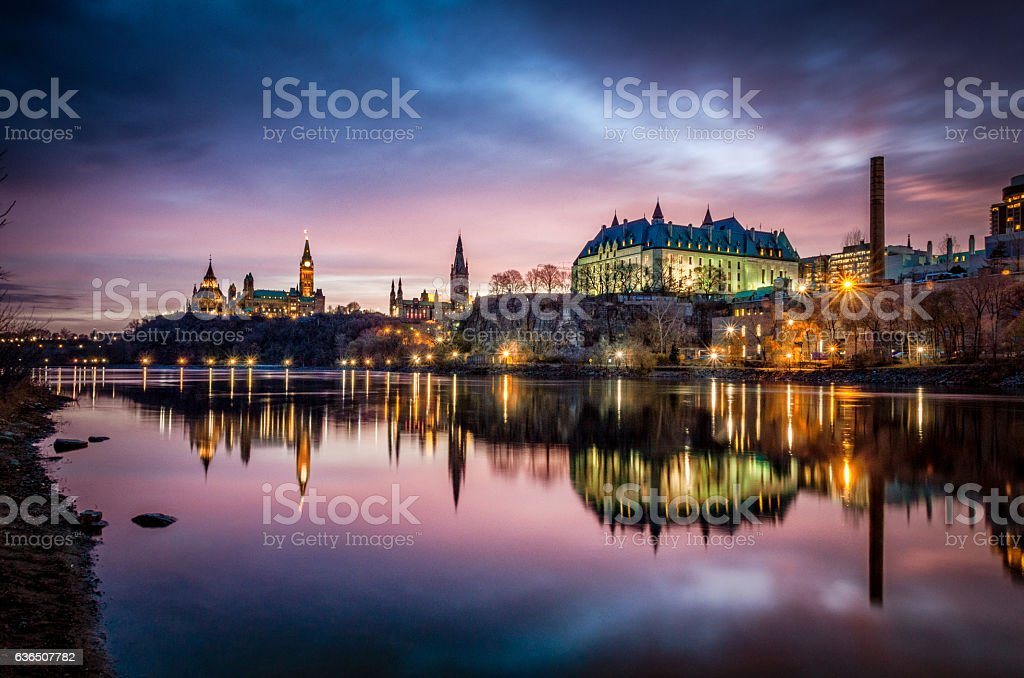 Ottawa River and Parliament of Canada at Sunrise stock photo
