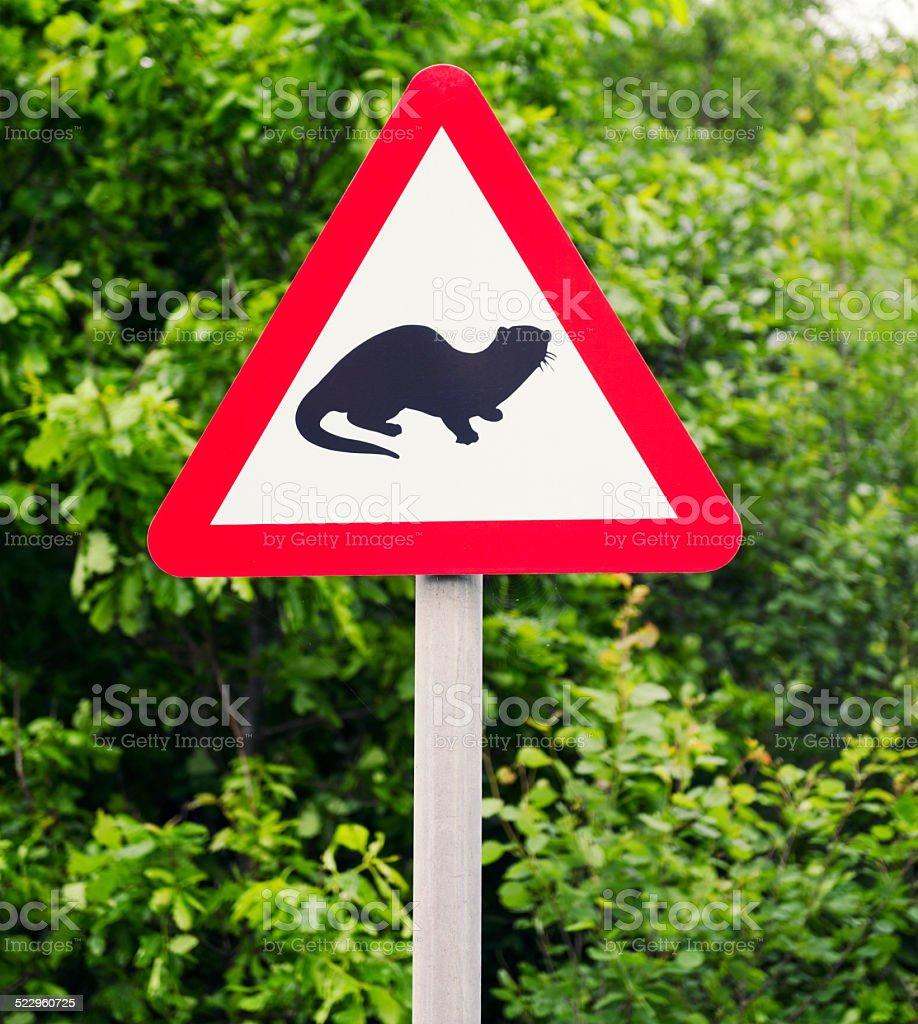 Otter Warning Sign stock photo