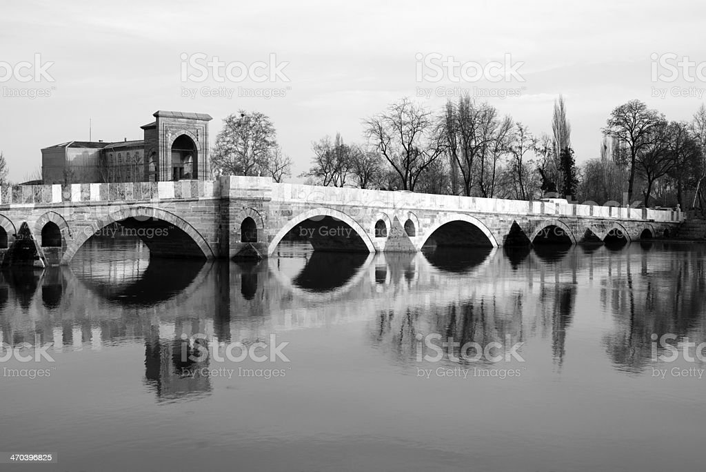 Ottoman Bridge in Edirne stock photo