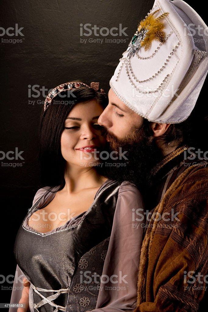Ottoman sultan and the princesse stock photo