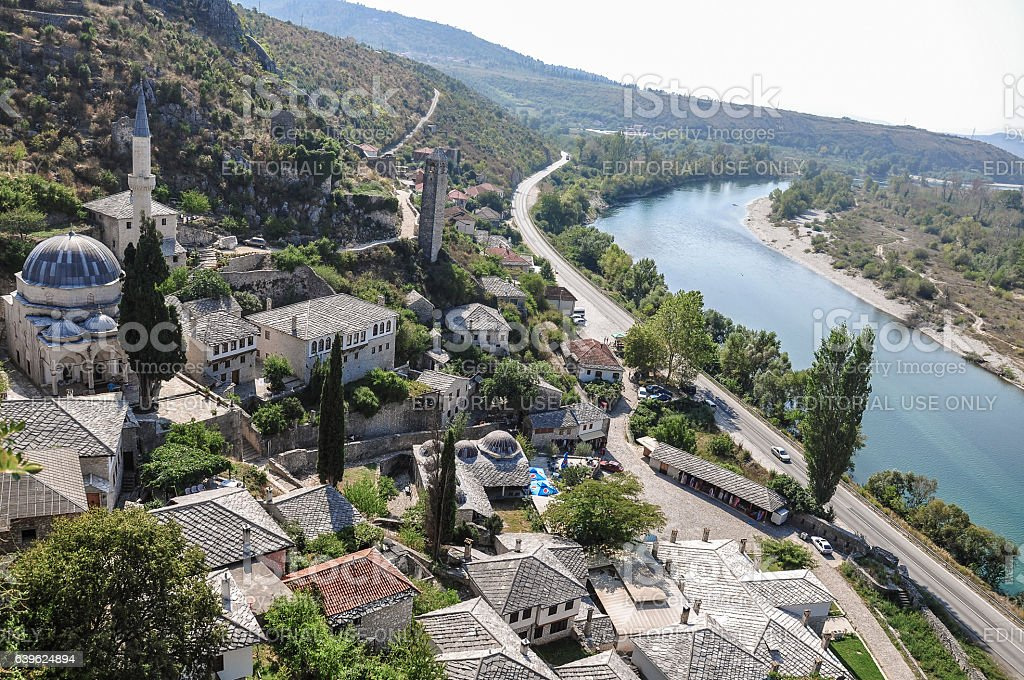 Ottoman Town of Pocitelj by river in Bosnia and Hezegovina stock photo