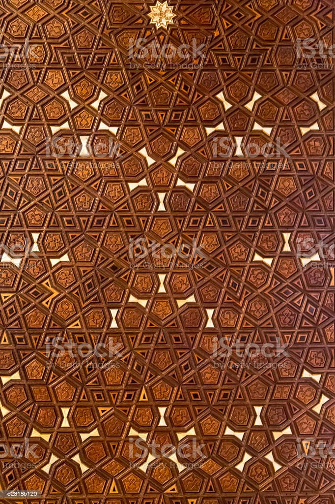 Ottoman wooden carving stock photo