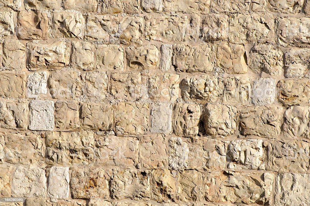 Ottoman-era stone wall surrounding the Old City of Jerusalem royalty-free stock photo