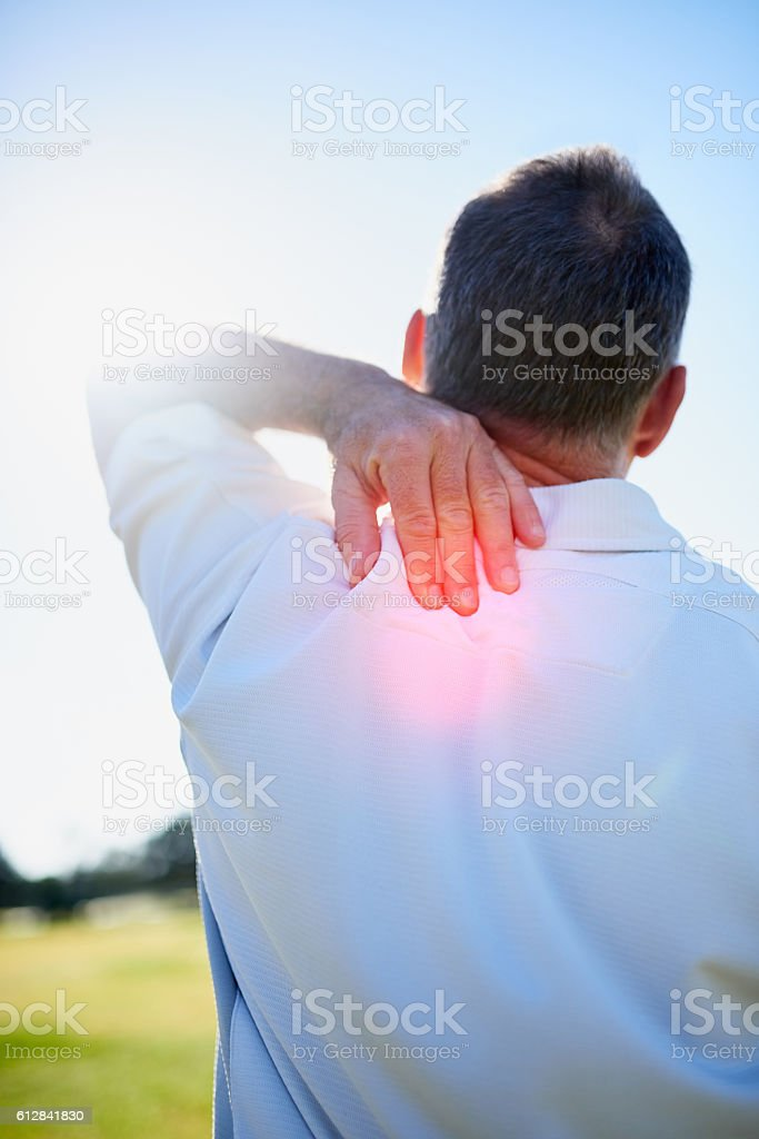 Ouch - feels like I've pulled that muscle again stock photo