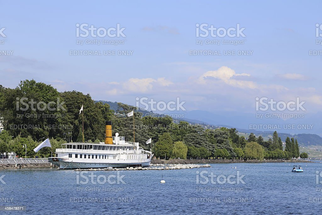 Ouchy, Lausanne-city's port, Switzerland stock photo