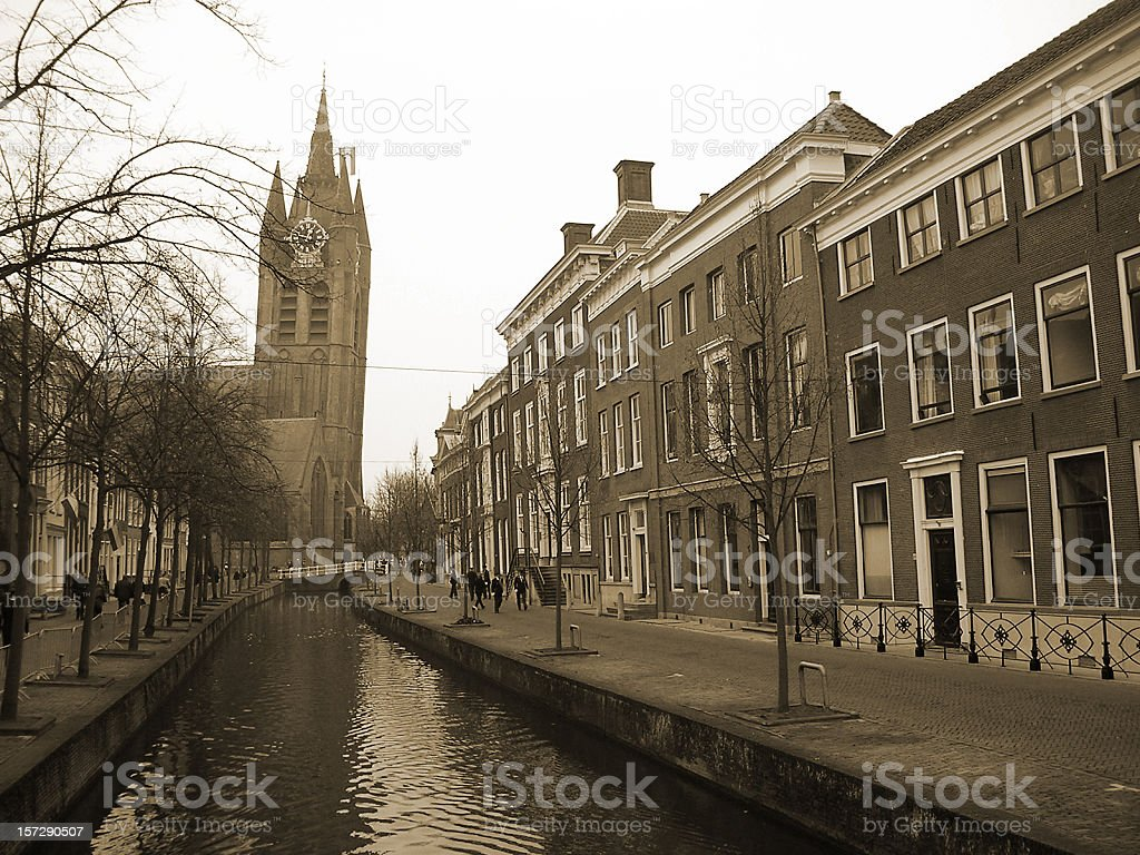'Oude Delft' - Historical Dutch Canal without traffic royalty-free stock photo