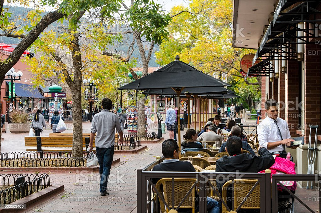 Oudoor Dining on Pearl Street Mall in Boulder, Colorado stock photo