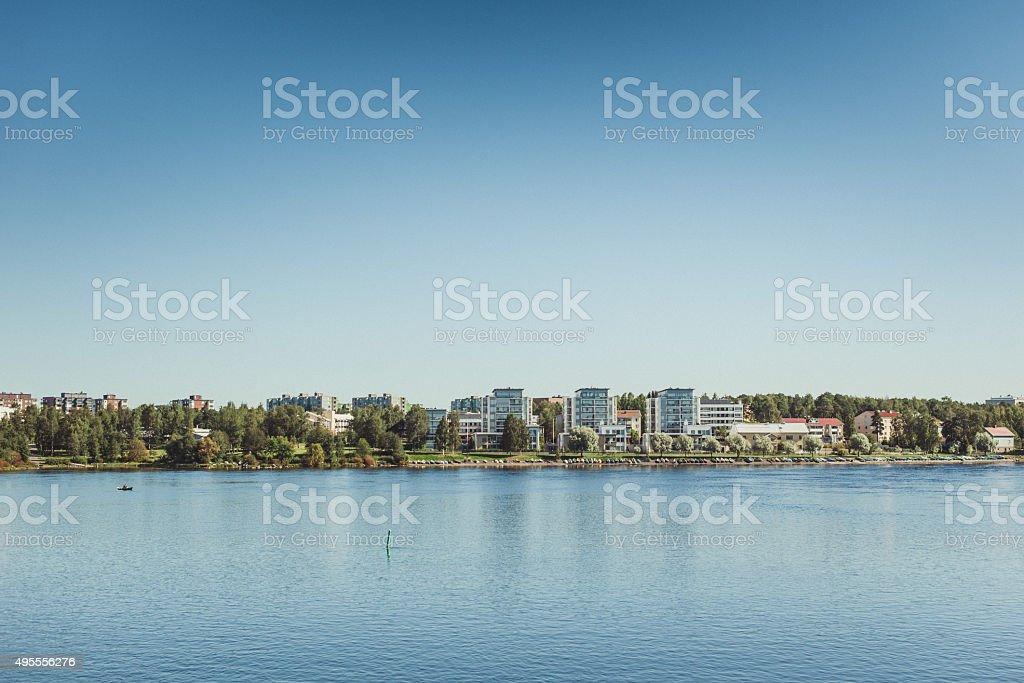 Oulu joki river in Finland stock photo