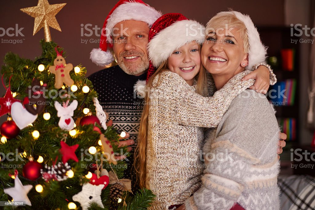 Our beautiful Christmas tree and beloved family stock photo