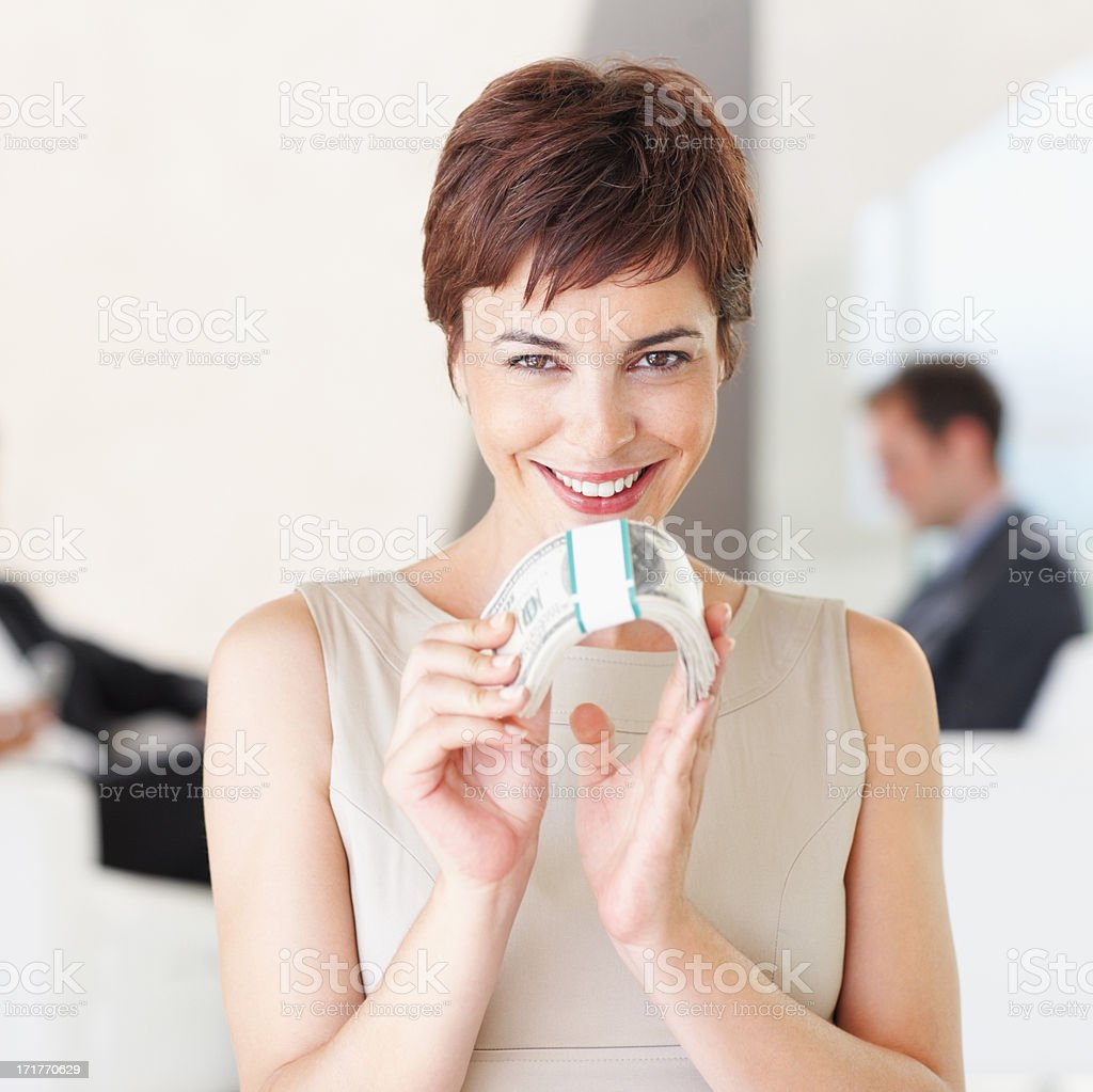 Our business is booming financially! stock photo