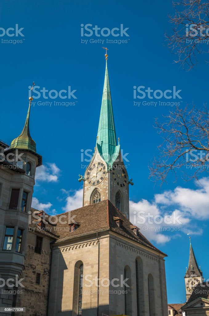 Our lady church in Zurich stock photo