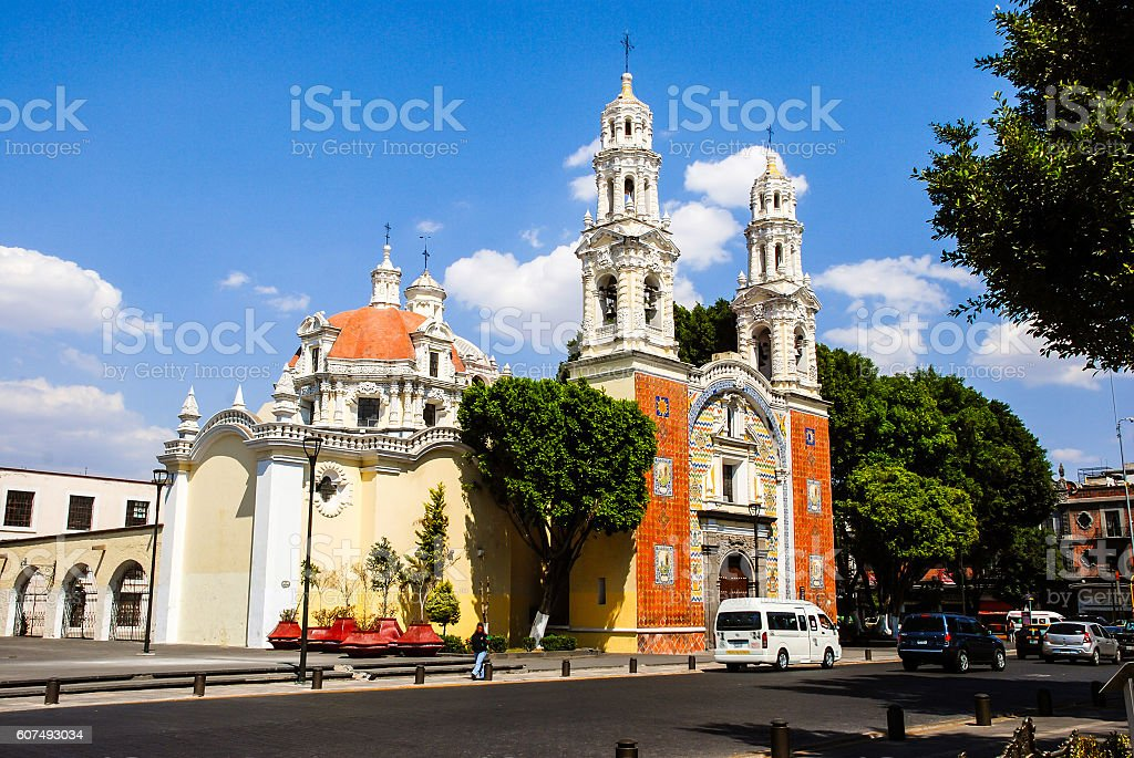 Our Lady Of Guadalupe Church with cars in Puebla, Mexico stock photo