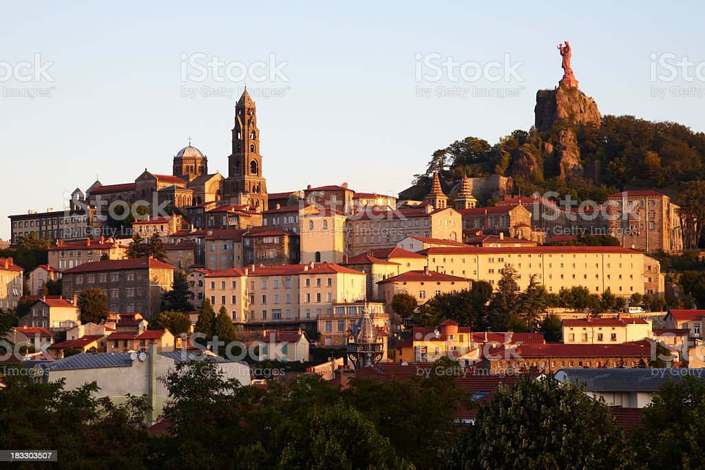 Our Lady of Le Puy on the hillside of Le Puy, France stock photo