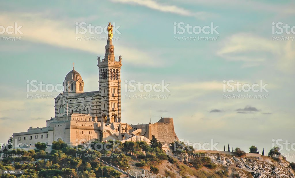 Notre Dame de la Garde is Byzantine architecture basilica stock photo