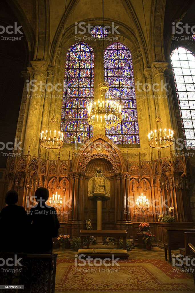 Notre dame du Pilier chapel inside Chartres Cathedral stock photo