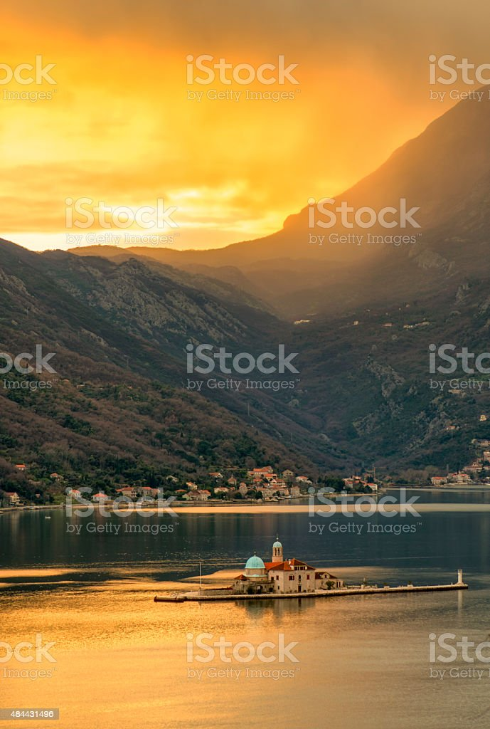 Our Lady of the Rock, Perast, Montenegro stock photo