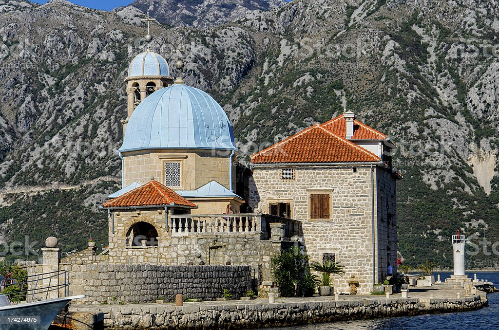 Our Lady of the Rocks church in Perast, Montenegro stock photo