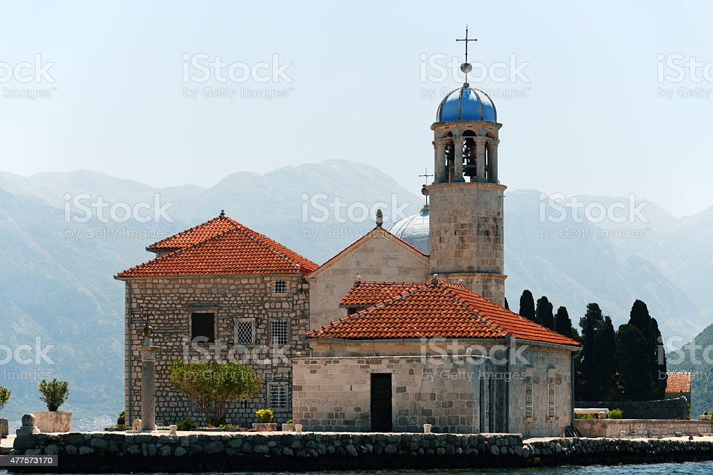 Our Lady of the Rocks in Bay of Kotor, Montenegro stock photo