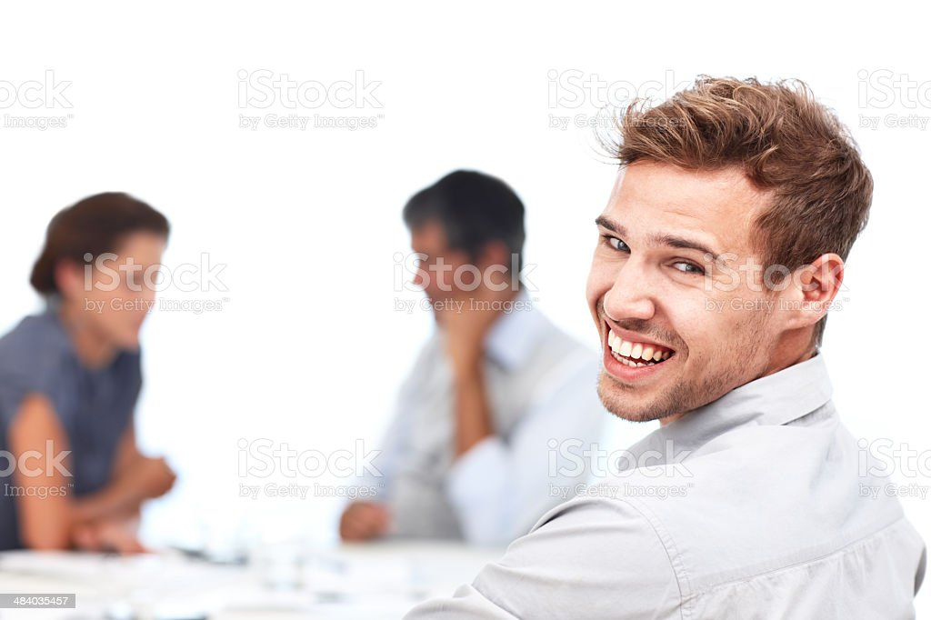 Our meetings are never too serious royalty-free stock photo